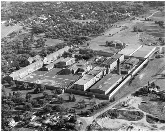 Aerial view of Minnesota State Prison, Stillwater