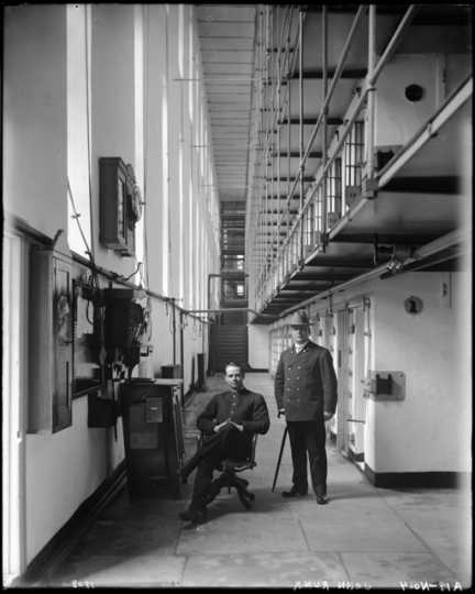 Cell block and guards at Minnesota State Prison, Stillwater