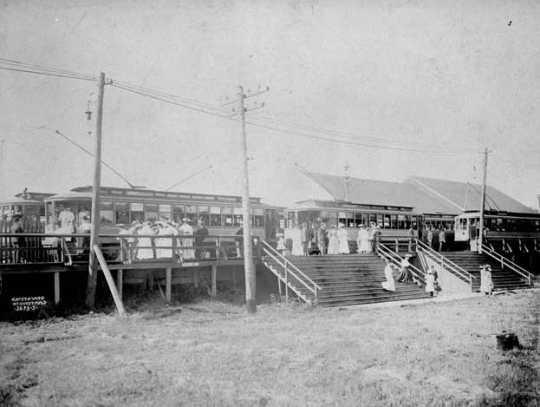 Black and white photograph of an interurban streetcar station (White Bear Lake), Wildwood Amusement Park, c.1915.