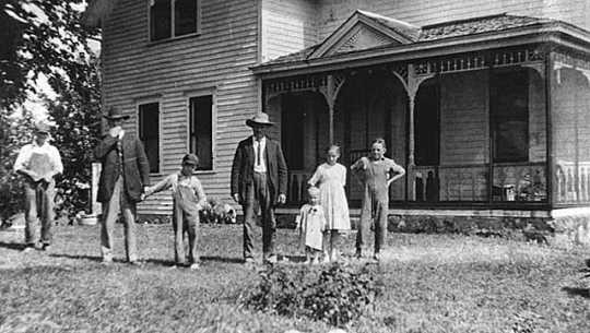 Black and white photograph of the Mainquist farm house, Rockford Township, Wright County, ca. 1920.