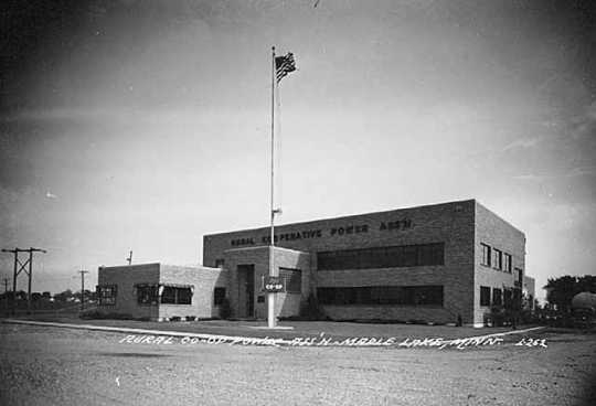 Black and white photograph of the Rural Cooperative Power Association, Maple Lake, ca. 1950.