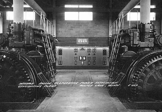 Black and white photograph of the Rural Cooperative Power Association Generating Plant, Maple Lake, ca. 1950.