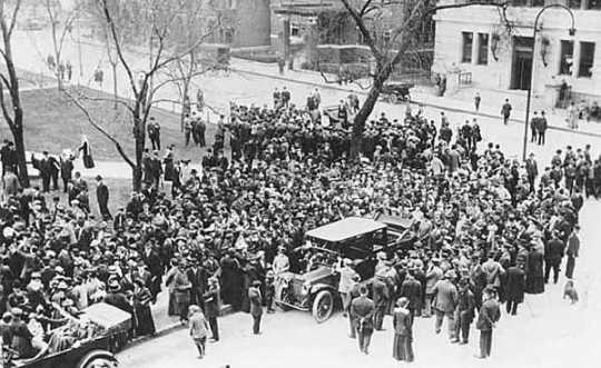 Women suffrage meeting at Rice park, St. Paul.