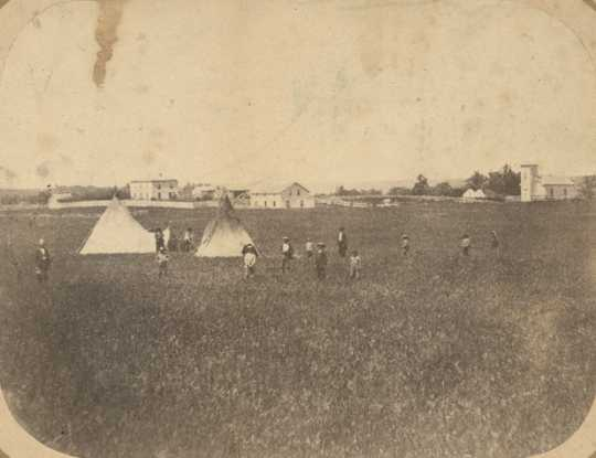 Black and white photograph of the Hazelwood Mission of Stephen R. Riggs in Yellow Medicine County, c.1860.