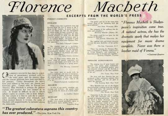 Promotional pamphlet featuring photographs of Florence Macbeth and excerpts from positive reviews of her singing performances.
