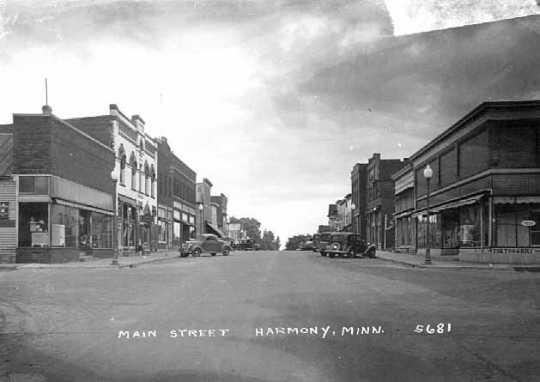 Photograph of Harmony's Main Street facing south, 1950