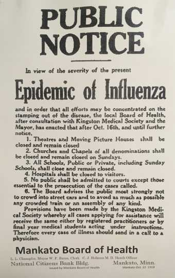 Public notice issued  by the Mankato Board of Health