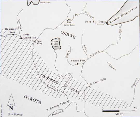 Sketch showing the approximate boundaries of the contested zone between the Ojibwe and the Dakota in the late 1700s.