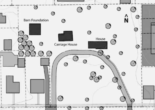 Map of the Harrington-Merrill House site, 2011.