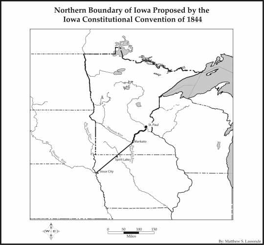 Map of the boundaries of Iowa proposed by the Iowa Constitutional Convention of 1844.