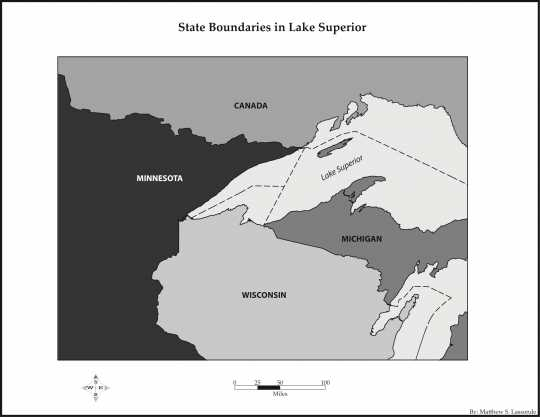 Map of interstate boundaries in Lake Superior ultimately fixed in 1947.