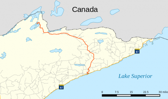 Map of the Gunflint Trail, also known as Cook County Road 12, across northeastern Minnesota. The trail starts in Grand Marais and extends for 57 miles to Saganaga Lake. The map was created by Wikimedia Commons user Fredddie [sic] on July 28, 2015. GNU free documentation license 1.2.