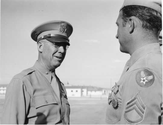 Brigadier General Martinus Stenseth at the Las Vegas Army Air Force Base, ca. 1950. Photo by US Air Force