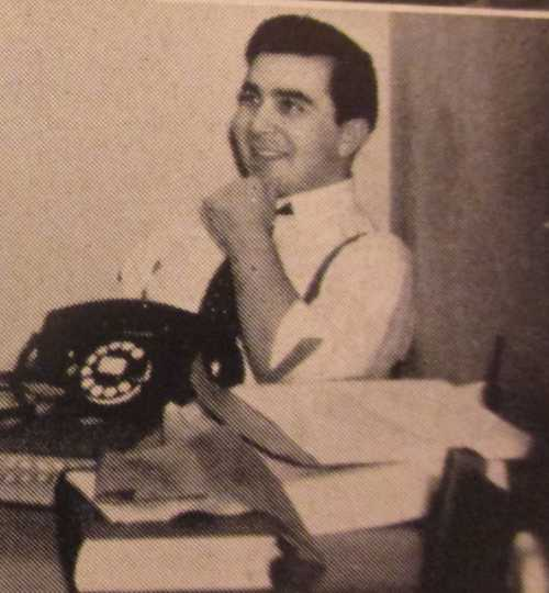 Shulman at his desk as editor of the University of Minnesota's humor magazine Ski-U-Mah, ca. 1941. From a 1941 issue of Ski-U-Mah, available on microfilm at the Minnesota Historical Society.