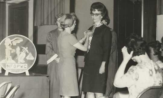 Black and white photograph of Doris Matzke is installed as BPWC president by former president June Shaver, May 1967.