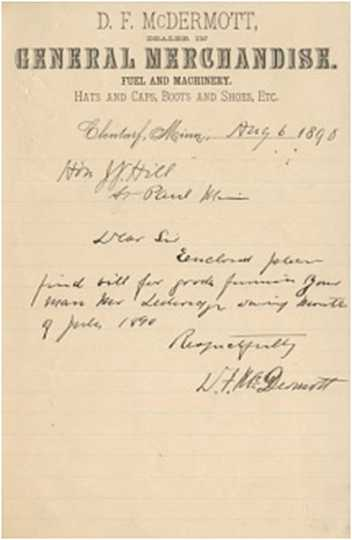 Color scan of a note written from D. F. McDermott to James J. Hill on August 6, 1890, regarding supplies ordered by Mr. Ledwidge of Clontarf Township. Mr. Ledwidge trained Hill's hunting dogs.