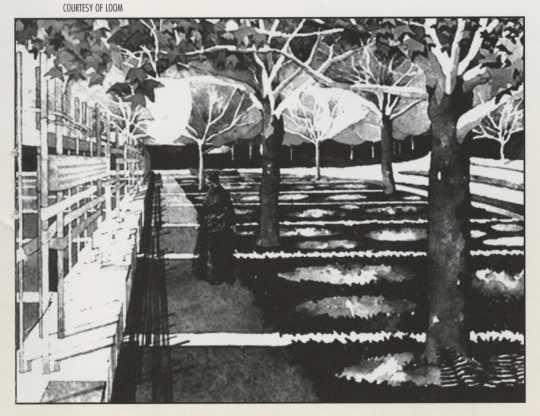 Architect's rendering of the Minnesota Woman Suffrage Memorial Garden, from the memorial dedication booklet, 2000. LOOM Studio.