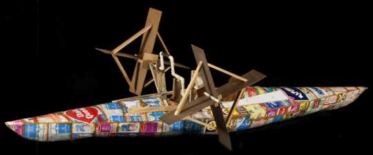 Milk carton kayak used in Minneapolis Aquatennial, 1971