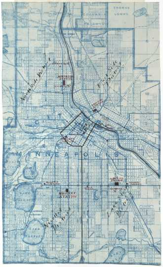 Color scan of a war map of Minneapolis likely drawn during the Twin Cities Streetcar strike, 1917.