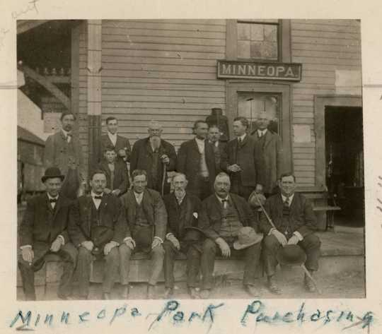 Black and white photograph showing the negotiating of the purchase of Minneopa State Park, October 13, 1905.