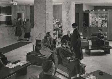 Black and white photograph of the interior lobby of Mount Sinai Hospital, 1955.