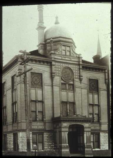 Black-and-white photograph of the second Mount Zion building.