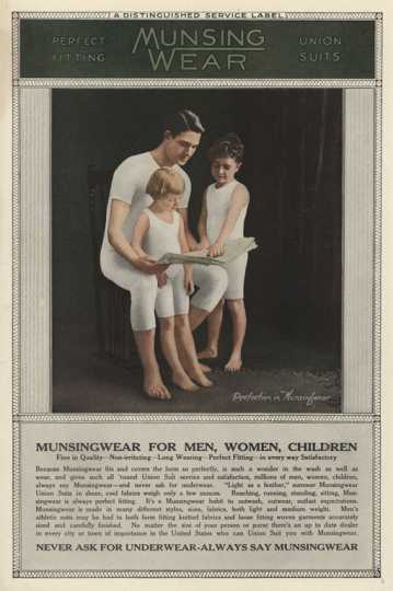 advertising image of father and children wearing Munsingwear long underwear
