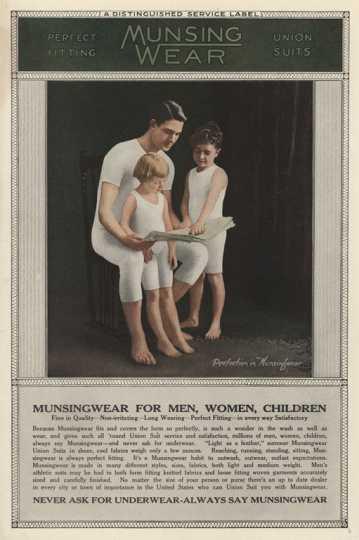 advertising image of father and children wearing Munsingwear long underwear