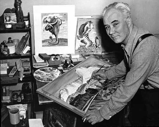 Black and white photograph of Adolf Dehn painting, c.1950s.
