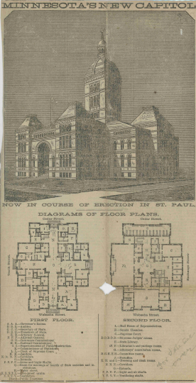 Scan of Buffington's drawing and floor plan of the first and second floors of the second State Capitol Building, which appeared in the St. Paul Daily Pioneer Press, August 29, 1881.