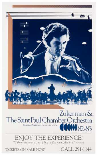 Color poster of violinist and conductor Pinchas Zukerman and the St. Paul Chamber Orchestra, ca. 1980–1987.