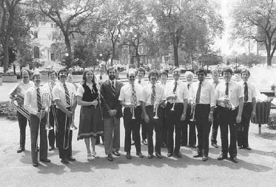 Photograph of the Great Western Band performing in Rice Park in St. Paul over the lunch hour, July 17, 1980.
