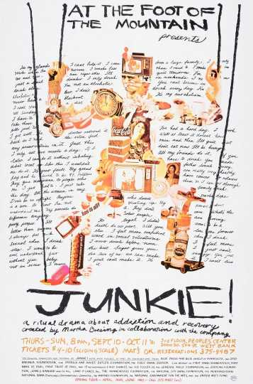 Poster for At the Foot of the Mountain Theatre's production of Junkie!, 1981.
