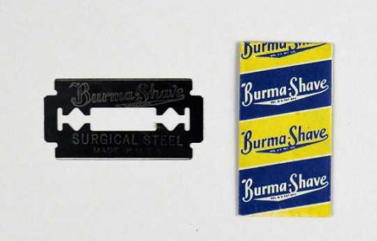 Burma-Shave razor blade