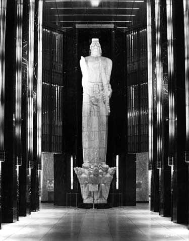 """Black and white photograph taken by Norton and Peel on September 12, 1938 of Carl Milles's """"God of Peace"""" statue inside the St. Paul City Hall and Ramsey County Courthouse."""