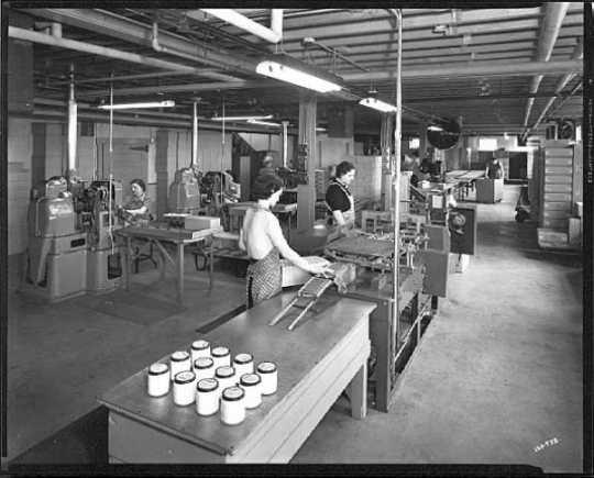 Assembly line inside the Burma-Vita Company
