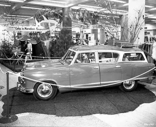 Black and white photograph of Marvelous Minnesota display at Dayton's, 1955.