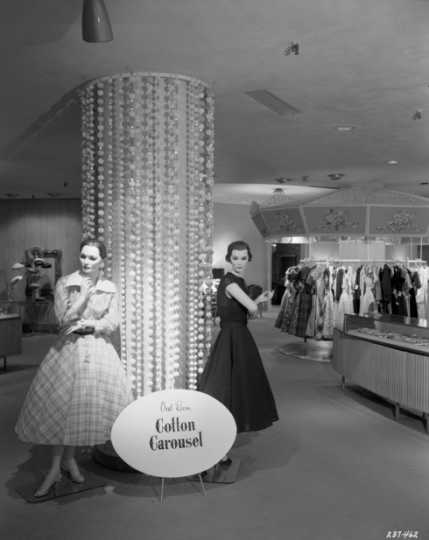 Black and white photograph of the Oval Room at Dayton's, 1956.