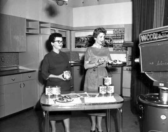 Black and white photograph of a food demonstration for WCCO-TV, 1957.
