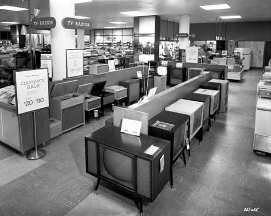 Black and white photograph of Television, radio and phonograph department, Dayton's Southdale store, 1958.