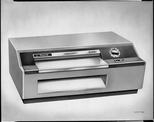Thermo-Fax copying machine, 1958. The Thermo-Fax was the first photocopier marketed in the United States. While it has since been made obsolete by more advanced products, it had major impacts on office communication.