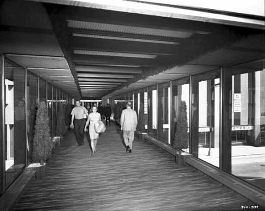 Black and white photograph of skyway leading to the Northstar Center, Minneapolis, 1969.