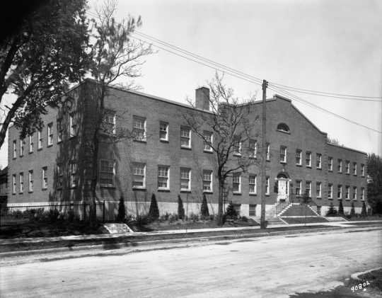 Black and white photograph of the exterior of of the Phyllis Wheatley House, 1931.