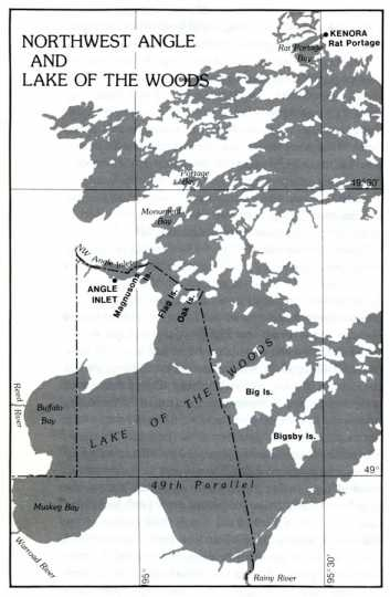 Map of the Northwest Angle and Lake of the Woods.