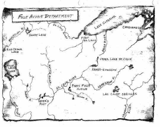 Map of locations important to the early 1800s fur trade in present-day Minnesota and Wisconsin. Drawn by David Geister, ca. 2000.