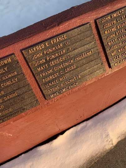 Names on the base of the Iron Man Memorial