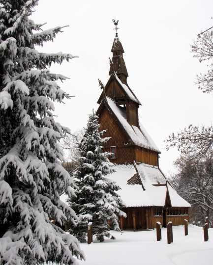 Hopperstad Stave Church replica, winter