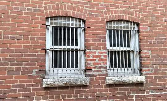 Nerstrand City Hall jail cell windows. Photograph by Jeff M. Sauve, May 2019. Used with the permission of Jeff M. Sauve.