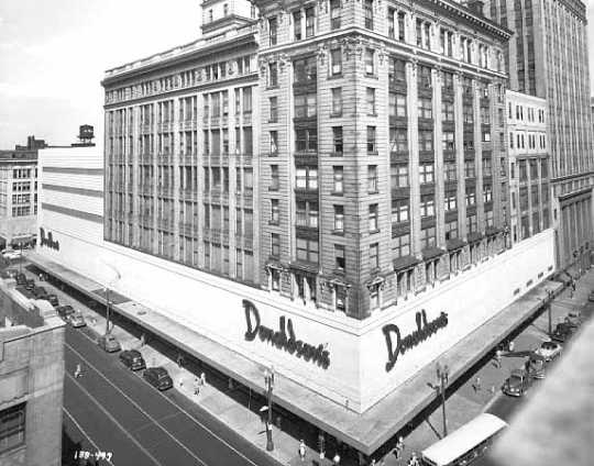 Black and white photograph of the exterior, L. S. Donaldson Company, 1949. Photograph by Norton & Peel.