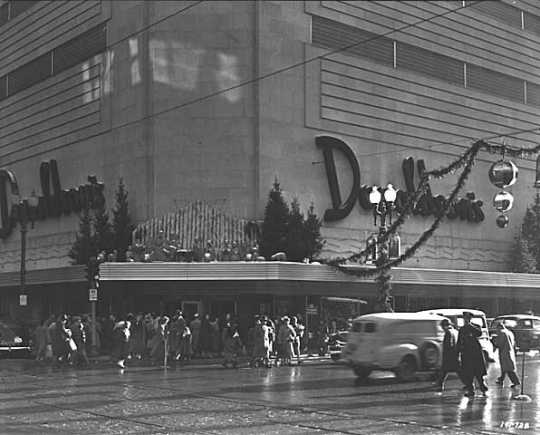 Black and white photograph of Christmas decorations, Donaldson's, 1949. Photograph by Norton & Peel.